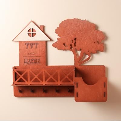 Ключница настенная с балконом из дерева цвет красное дерево (без текста на дереве)