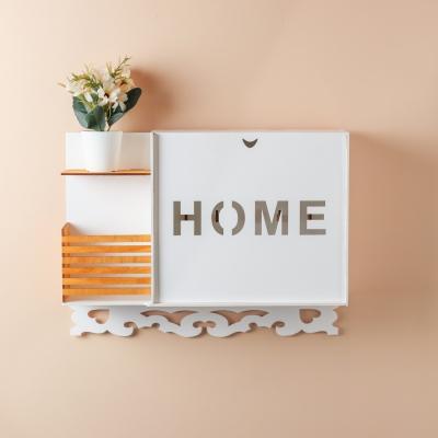 Ключница настенная HOME из дерева с полочкой, цвет белый с медовым