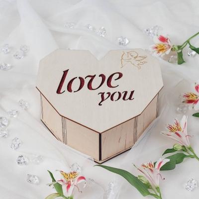 Деревянная подарочная коробка сердце Love You