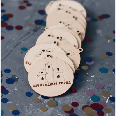 Деревянные новогодние игрушки с логотипом v2