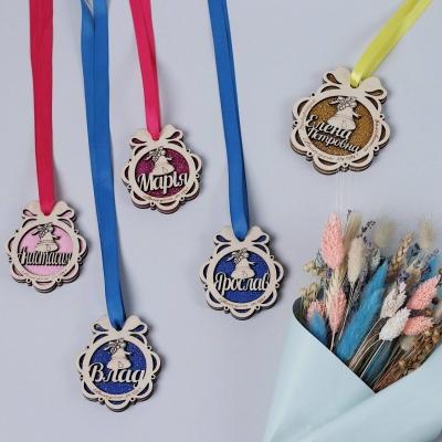 Именная медаль выпускника детского сада/школы дизайн бантик