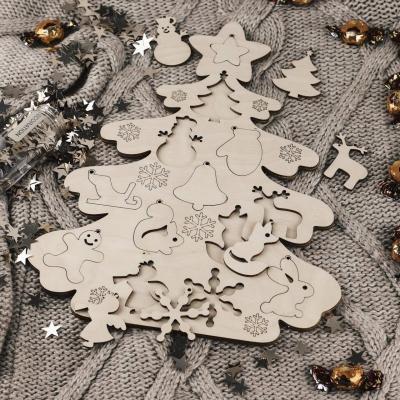 Новогодняя елочка-сортер из фанеры под раскраску