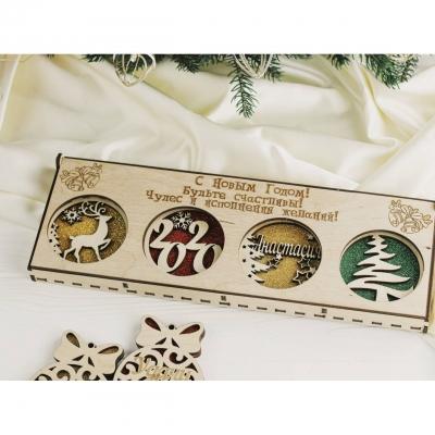 Новогодние коробки из дерева для елочных игрушек 4 отделения