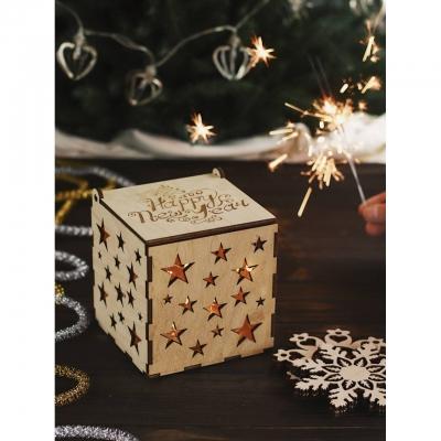 Новогодние коробки из дерева для елочных игрушек дизайн звездочки