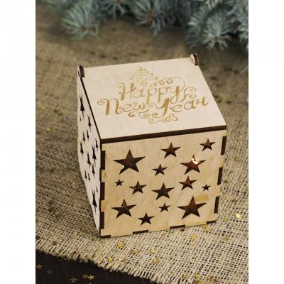 Коробка из дерева DomLazera Звездочки 6021 11x11x12 Без покраски (В наличии)