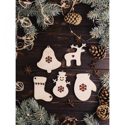 Деревянные елочные игрушки со снежинкой двусторонние с блестками