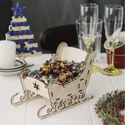 """Деревянная конфетница """"Новогодние сани"""""""