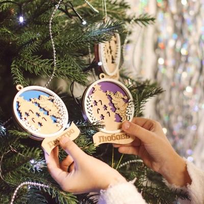Новогодняя игрушка на елку дед мороз с елочкой с покраской
