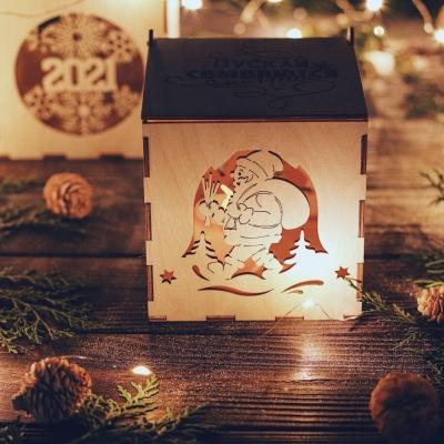 Коробка из дерева DomLazera Дед Мороз с мешком 6021_1 11x11x12 Без покраски (В наличии)