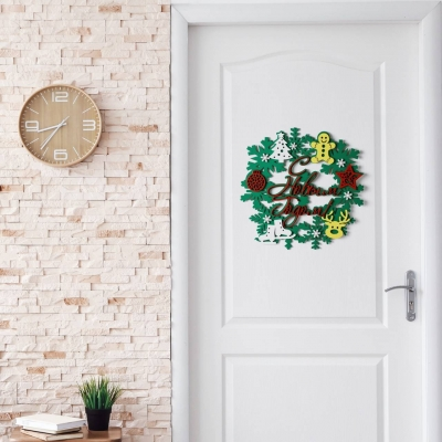 Новогодний декор на дверь дизайн венок