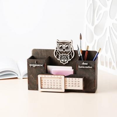 Деревянный именной органайзер с вечным календарем. Настольный органайзер с совой цвет венге