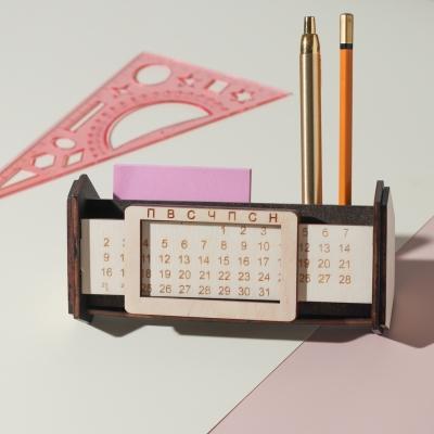 Вечный календарь органайзер из дерева, цвет венге