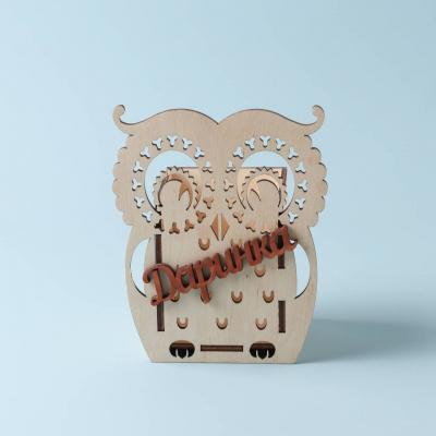 Карандашница из дерева сова