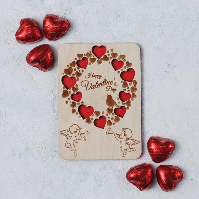 Открытка из дерева - Happy Valentines day (сердечки v1)