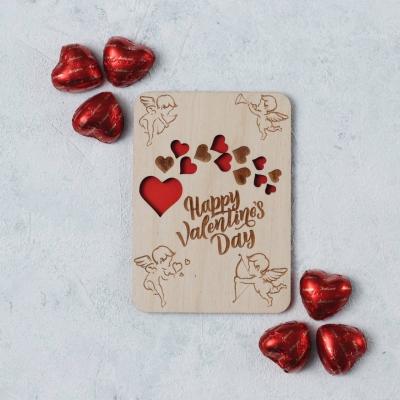 Открытка из дерева - Happy Valentines day (сердечки v2)