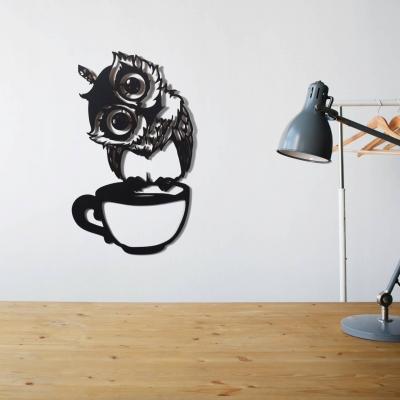 "Декор на стену. Панно на стену дизайн ""Сова на чашке"""