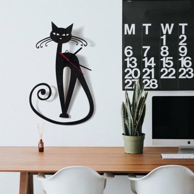 """Декор на стену. Настенные часы """" Кошка с усиками и хвостом"""""""