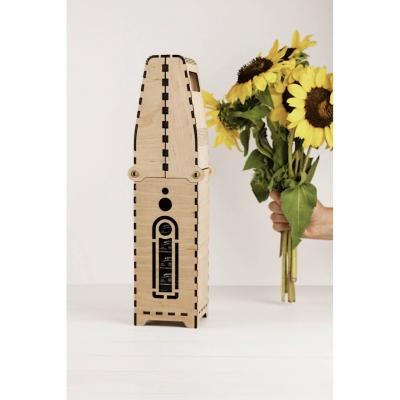 Деревянная коробка для упаковки. Подарочная коробка для бутылки