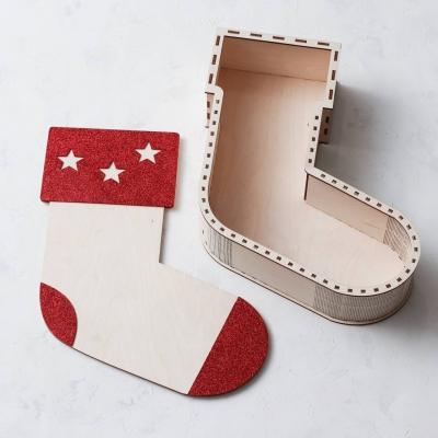 """Коробка деревянная """"Новогодний носок"""" для наполнения"""