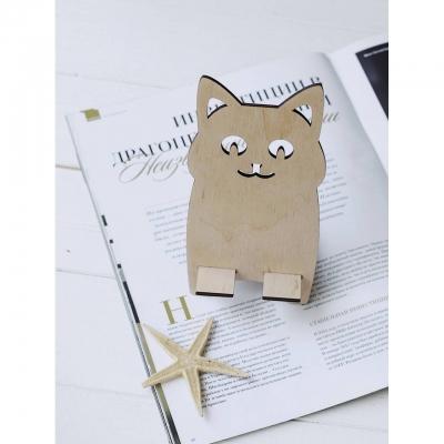 Подставка для телефона из дерева кот с ушками
