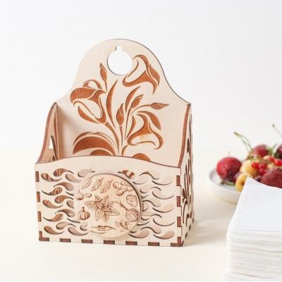 Коробка для хранения специй из дерева с цветами каллы