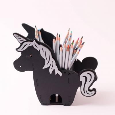 Карандашница DomLazera дизайн единорог v3 1107 18*19,5*9,8 см черный с серебром (В наличии)