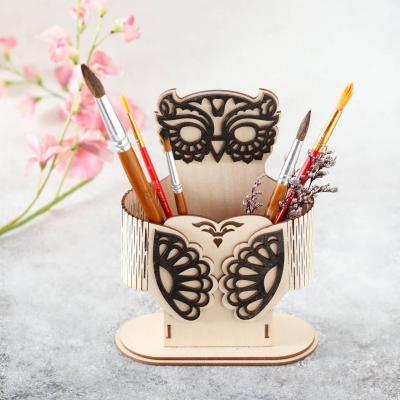 Карандашница из дерева дизайн сова ажурная