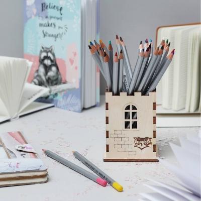Подставка для карандашей и ручек замок с совой