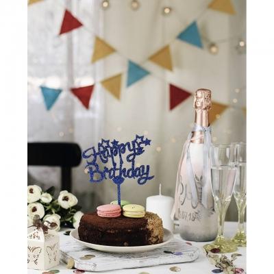 Деревянный топпер в букет или торт Happy Birthday v1