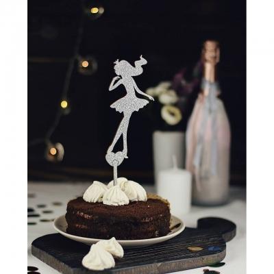 Деревянный топпер в букет или торт Девушка v2